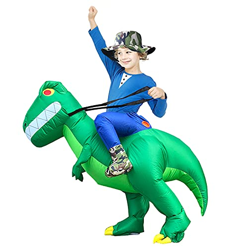 Inflatable Dinosaur Costume for Kids, Arspic Halloween Costumes Dinosaur Inflatable Ride on Dinosaur Rider Costume T-REX Blow Up Costume for Boys Girls Riding Dinosaur Funny Costume Child Unisex