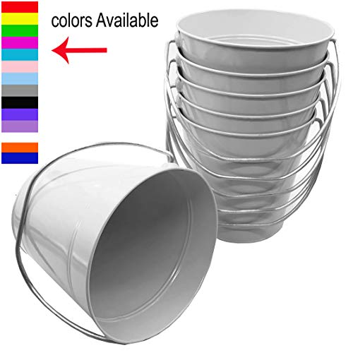 - 6 pack Metal Bucket, White Metal Bucket 5