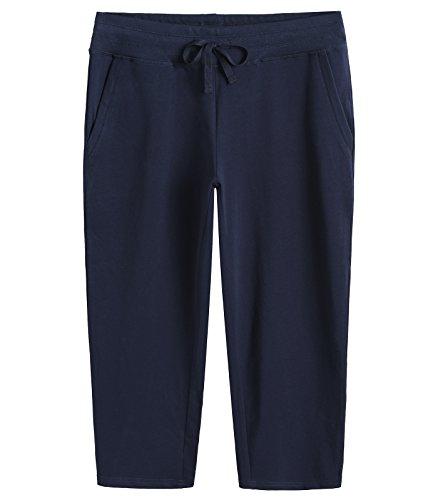 Weintee Women's Cotton Capri Pants with Pockets XXXL Navy ()