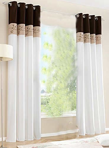 1pcs Floral Embroidered Window Curtain Panels Grommet Top LivebyCare Patchwork Color Window Treatments Drapery Drape Room Divider Partition Curtains Decorative for Play Room Saloon (Saloon Window)