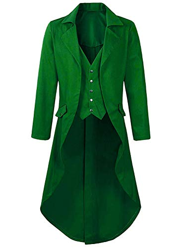 Green Long Sleeve Tail Coat Riddler Costume Stylish Jackets for Victorian Party for Teens Outfit]()