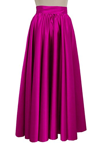 E K Women duchess maxi skirt Formal prom evening wedding bridesmaid long skirt-Magenta 3X by E K