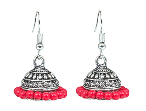 Sansar India Oxidized Red Beads Jhumka Jhumki Earrings for Girls and Women