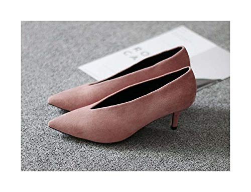 HANGGE& European American Pop Star Pointed Toe Thin Heel Woman Shoes Deep V Design Lady Fashion Shoes Elegant Women Shoe C264 Pink 6.5