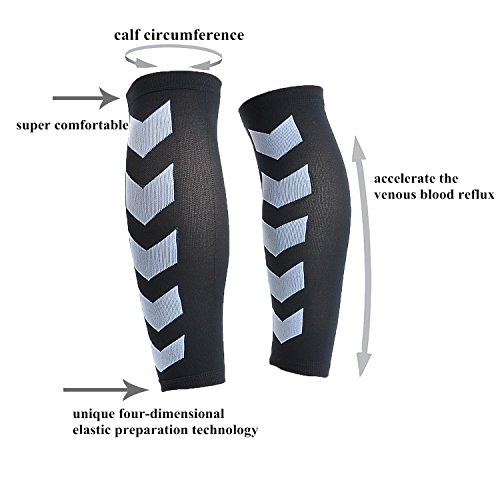 Faladi High Performance Graduated Calf Compression Sleeves for Men& Women (1 Pair)-Help Relief Shin Splints, Calf Strain and Reduce Fatigue -Great for Running,Cycling,Maternity,Travel&More (L/XL) by Faladi (Image #3)