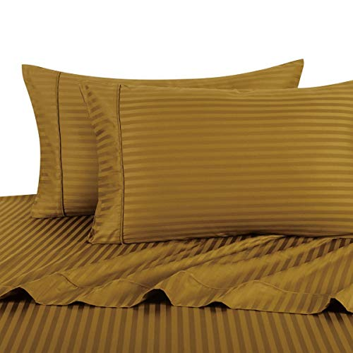 (Stripe Bronze Queen Size Sheets, 4PC Bed Sheet Set, 100% Cotton, 300 Thread Count, Sateen Striped, Deep Pocket, by Royal Hotel)