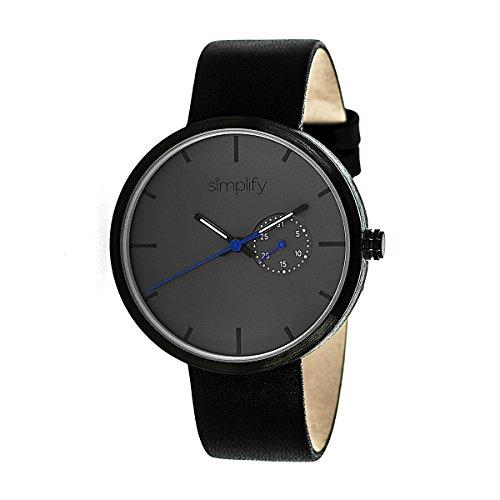 Simplify Men's 'The 3900' Japanese Quartz Movement Metal Case and Leather Watch, Color:Black (Model: SIM3902)