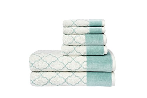 LOFT by Loftex 9802-6PCSET-Aqua Lattice Luxe (6 Piece Set), Aqua (Loft Bath)