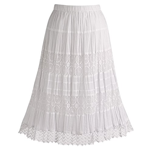 Women's White Peasant Skirt - Cotton Lace 26
