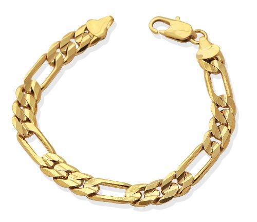 LIOR - Bracelet Homme Gourmette Très Grosse - Plaqué Or 750/1000 - 19cm