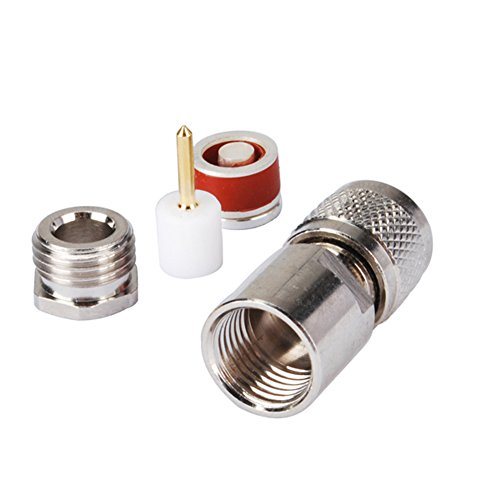 PC-Case 2 piezas Cable Coaxial RF Cable eléctrico Terminal Conector de aleación de cobre Mini-UHF enchufe recto abrazadera para RG58 LMR195 RG400: ...