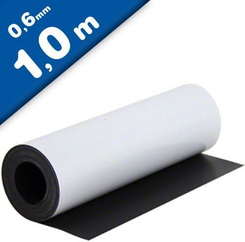 Lámina magnética blanco mate 0,6mm x 0,62m x 1m - crear imanes personalizados, adhiere a todas superficies metálicas: Amazon.es: Hogar