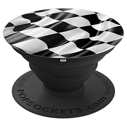 (PopSockets: Black and White Racing Flag - Checkered Flag - PopSockets Grip and Stand for Phones and Tablets)
