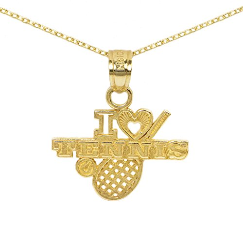 Player Charm 14kt Gold Jewelry (14k Yellow Gold Tennis Pendant (18