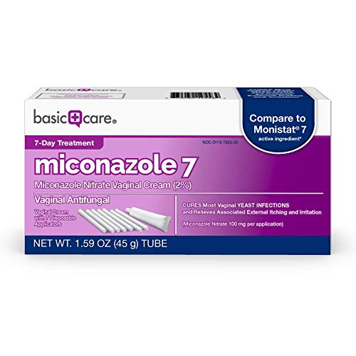 Amazon Basic Care Miconazole Nitrate Vaginal Cream 2%, Vaginal Antifungal, 7-Day Treatment