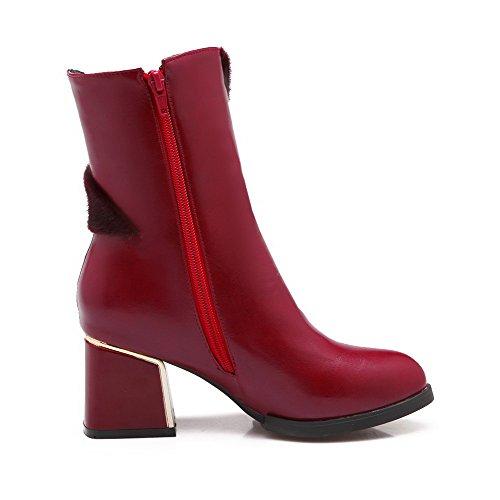 AllhqFashion Damen Eingelegt Mittler Absatz Spitz Zehe PU Leder Reißverschluss Stiefel, Rot, 39
