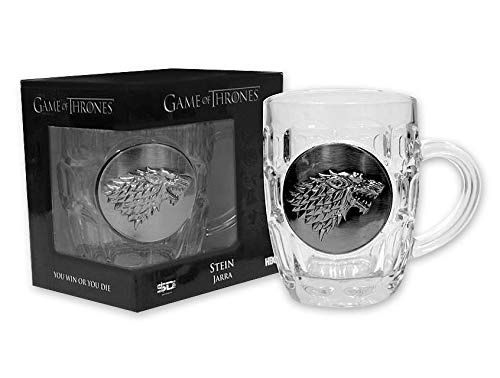 Game of Thrones Glass Beer Mug Stark Logo Close Up