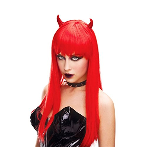 Devil Wig With Horns (Adorox Red Horn Devil Woman's Wig Demon Angel Halloween Costume)