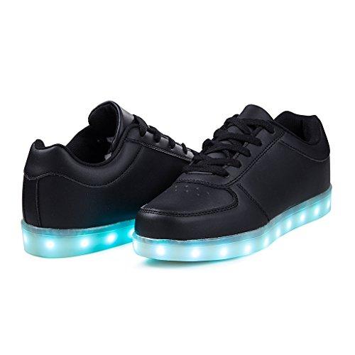 Jungen Mädchen LED Leuchtende Schuhe USB Aufladen Blinken Sportschuhe 7 Farbe Farbwechsel Lichter Turnschuhe Sneaker Herren Damen Schwarz-A