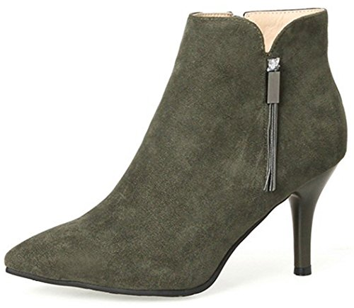 IDIFU Womens Dressy High Stiletto Heeled Pointy Toe Zip Up Faux Suede Short Ankle High Booties Army Green oQPCRwwW