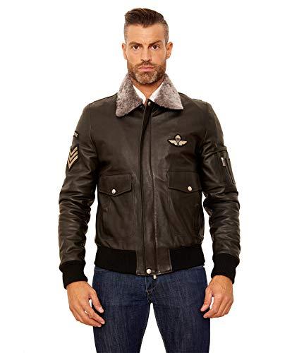 AVIATOR • black colour • Vintage lamb leather bomber jacket shearling collar - 56, Black