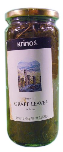 Krinos Imported Grape Leaves in Vinegar Brine - 6 Jars (16 oz - Krinos Grape Leaves