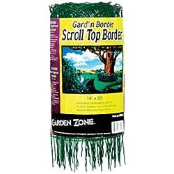 "Garden Zone 331420 Scroll Top Rolled Garden Border, 14"" x 20', Green"
