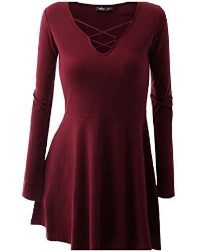 Dress Plus Coolred Sleeve Long Mini Knitting As4 Solid Women Cross Size z6qTw6