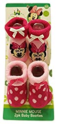 Apparel Best Brands Nickelodeon 2 Pair Baby Booties Size 0-12M Minnie Mouse Pink