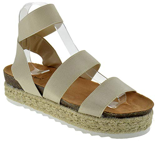Nature Breeze Women's Casual Summer/Spring Open Toe Espadrille Wedge Sandals, Beige 8