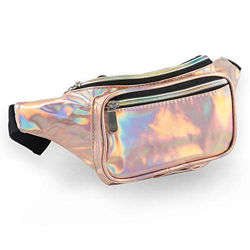 Holographic Fanny Pack for Women - Waist Fanny Pack with Adjustable Belt for Rave, Festival, Travel, Party (Rose Gold)