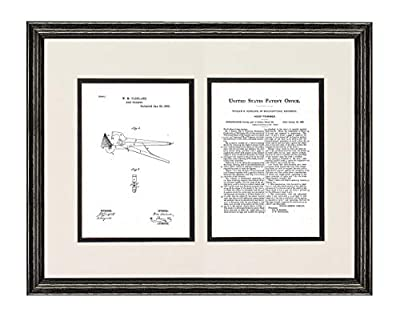 Hoof Trimmers Patent Art Print in a Black Wood Frame with a Double Mat M14209