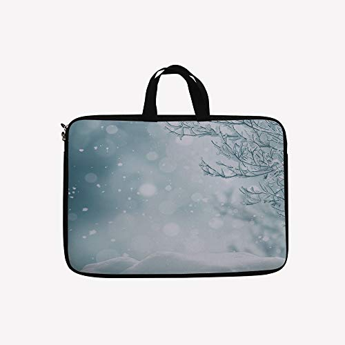 3D Printed Double Zipper Laptop Bag,Snow and Frosted Tree Snowflakes Winter Season,10 inch Canvas Waterproof Laptop Shoulder Bag Compatible with 9.7