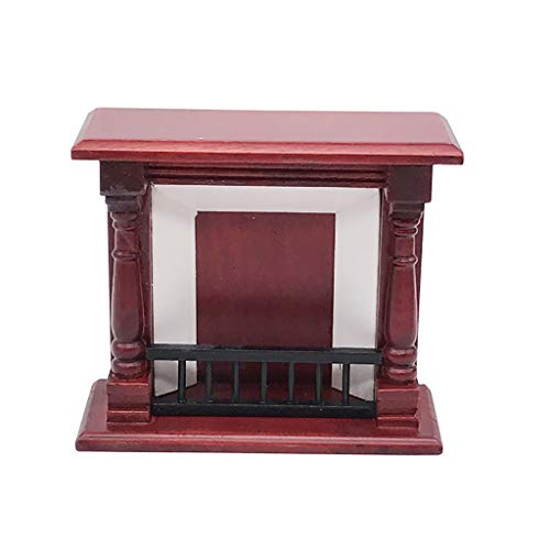Binory Mini Wooden Vintage Red Fireplace for 1/12 Dollhouse for sale  Delivered anywhere in USA
