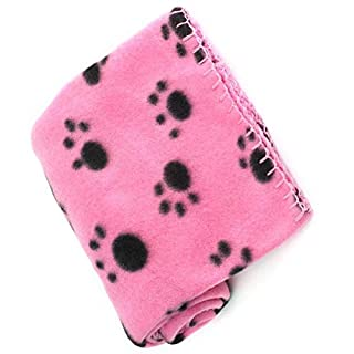 LuckyStone Warm Dog Cat Puppy Kitten Fleece Blankets Sleep Mat Pad Bed Cover with Paw Print Cushion Soft Pet Blanket for Small Animals (Pink)
