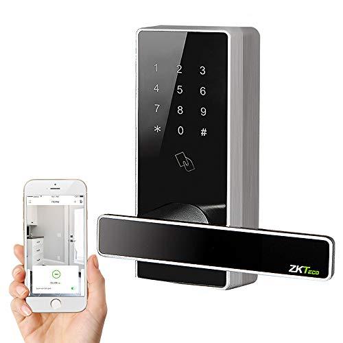 ZKTeco Keyless Door Lock,Bluetooth Smart Lock,Digital Door Lock Touchscreen Keypad  5 pcs RFID Cards App Control Anti-peep Password Door Locks for Office Home (Zink Alloy)