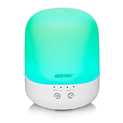 Diffuser, BESTEK 300 ml Essential Oil Diffuser Ultrasonic Cool Aroma Diffuser Air Purifier with Adjustable Mist Mode,Waterless Auto Shut-off and 7 Color LED Lights Changing for Home Office Baby
