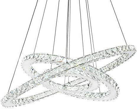 Three Rings Chandelier Lighting 11.8-19.7 – 27.6 Inches K9 Crystal Ceiling Light Fixture Galaxy Style Decor LED Lighting for Dining Room, Entry, Hallway, Hotel.