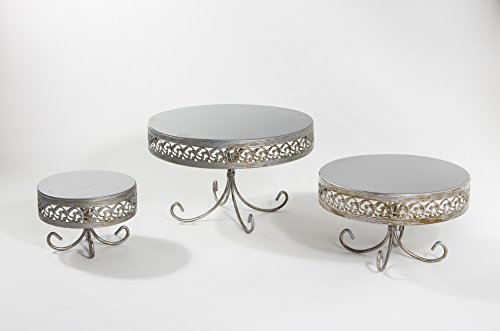 Opulent Treasures Cake Stand, Antique Silver, Set of 3, Metal, Wedding, Birthday, Graduation Cupcake, Dessert Display Plate, Decorative Leg Pedestal Base