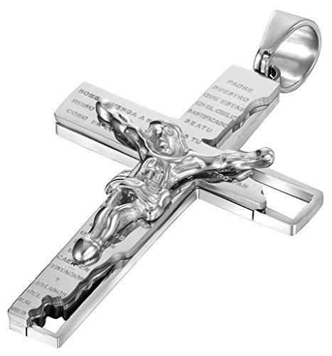 Jwoolw jewelry tainless Steel Men Pendant Necklace Cross Jesus Crucifix Rood Bible Prayer with 23 inch Chain ( Silver)