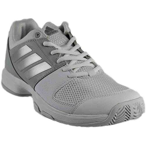 adidas Originals Women's Shoes | Barricade Court Tennis, White/Metallic Silver/Medium Grey Heather, (11.5 M US)