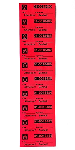 Color Tamper (100 High Security Tamper Evident Stickers Warranty Void Labels with Unique Serial Numbering On Every Tamper Evident Stickers No Sticky Residue Behind Color Red Pack Size 9.8 x 27.5Inch)