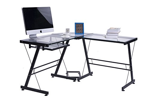 Merax Office Computer Desk L Shaped Corner Desk Drafting Table, Black with Clear Glass by Merax