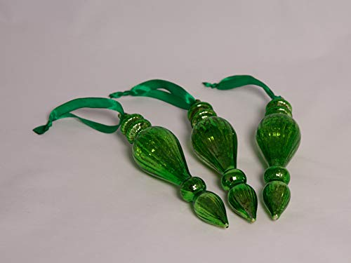 Vintage Style Mercury Glass Green Drop Ornaments | Set of 3