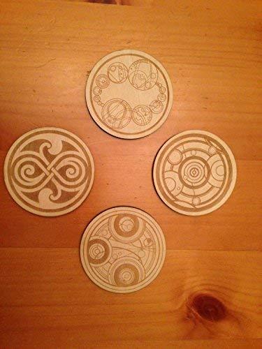 Amazon Doctor Who Gallifreyan Symbols Wood Drink Coasters Set