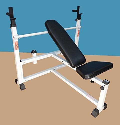 Mega Flat/Incline Adjustable Olympic Super Bench 1000 lb. rated with Deluxe Thick Upholstery. Weighs 98lbs. by TDS