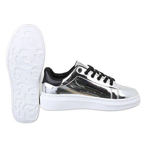 Ital-Design - Zapatos Planos con Cordones Mujer plata
