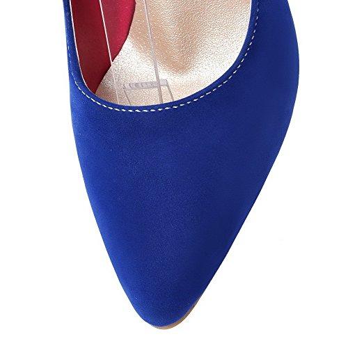 Allhqfashion Womens Gesp Puntige Neus Hoge Hakken Frosted Solid Pumps-schoenen Blauw