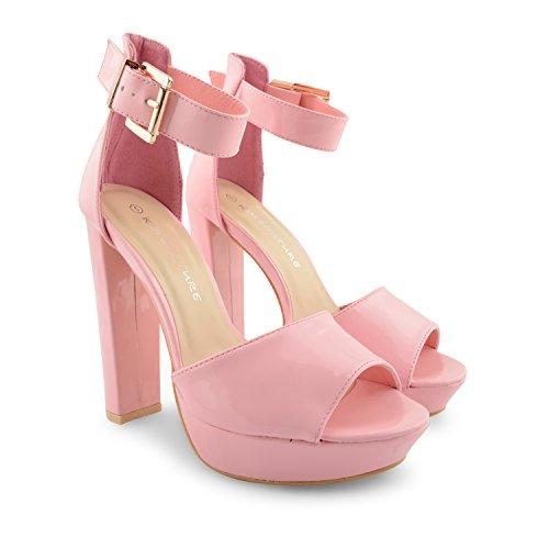 alto Strappy de Toe zapatos Glam Rosa Oro sandalias mujer Peep Hebilla tobillera Ladies noche para Plataforma fiesta talón New 1qREYE