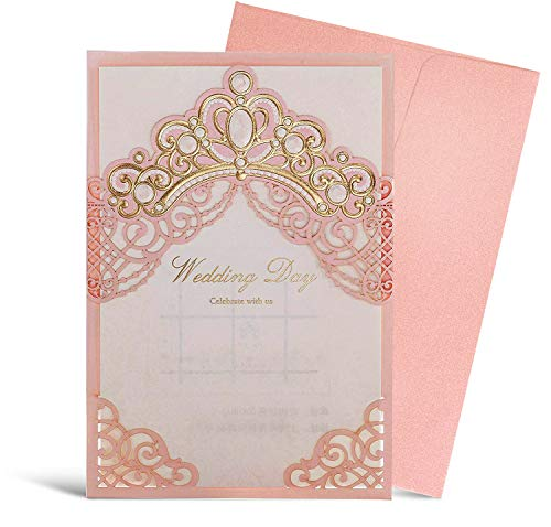 (WISHMADE Royal Pink Laser Cut Wedding Invitation Card with Embossed Crown Design Printable Blank Paper Sleeve for Wedding Invites with Envelope, Princess Dream, 50pcs)